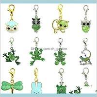 찾기 부품 구성 요소 12 Pieceslot 믹스 판매 부유 동물의 매력 랍스터 걸쇠와 녹색 모조 다이아몬드 DIY 쥬얼리 만들기 accessorie