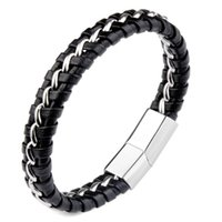 Charm Bracelets White Single Stripe Leather Bracelet Stainless Steel Magnetic Clasp Simple Fashion Bangles Accessories For Male