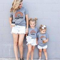 무지개 탑스 여름 어머니 딸 티셔츠 엄마 아기 엄마와 나 티셔츠 옷 여자 여자 여자 여자 여자 tops 가족 세트 K711