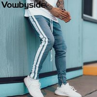 Chic Side Stripes Zipper Bottom Skinny Jeans Men Daily Casua...