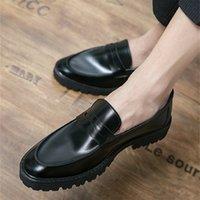 Dress Shoes Sapatos masculinos simples de couro artificial, calçado estilo britânico com sola grossa e respirável, verão SBE5