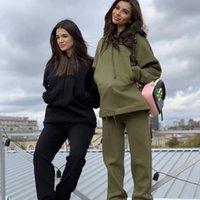 İki Parçalı Set Eşofman kadın Kapüşonlu Kazak ve Pantolon Rahat 2 Adet Kıyafetler Kadın Spor Suit
