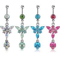 D0347 (6 couleurs) Mélangez les couleurs BOIT BOIT BOIT BOUTON Navel Bagues Piercing Bijoux Bijoux Pangle Accessoires Mode Charme Butterfly 20pcs / Lot 265 W2