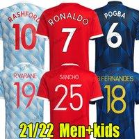 Sancho Ronaldo Soccer Jerseys Player Version 2021/22 R.Varane Rashford B.Fernandes Chemises de football Devils Red Devils Pogba Cavani Shaw Greenwood Maguire Jersey Men Kit enfants