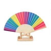 Kinesisk stil Färgrik Rainbow Folding Hand Fan Party Favors Wedding Souvenir Giveaway för gäst