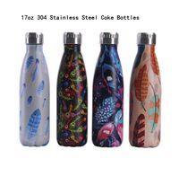 17Oz 304 Edelstahl Koks Flaschen Federmuster Tragbare Outdoor Car Water Cup Vakuum Mode Becher
