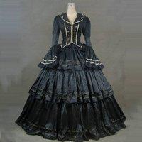 2021 Black Gothic Victorian Historical Party Dress Lange Flare Sleeve Mittelalterliche Retro Marie Antoinette Ballkleider für Halloween