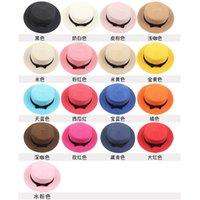 2021 Womens Summer Hat for Women Sun Hats Girls Straw Ribbon Bow Beach Bone Flat Top Panama Hat Parent-child Caps 1248 Q2