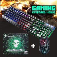 Эргономичная клавиатура набор мыши USB Wired Gaming Mice Mice Pormpad Combo 2400DPI LED Gamer красочная подсветка для игровых комбо