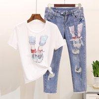 Frühling Sommer Frauen Set Designer Runway Anzug Damen Pailletten Mesh T-Shirt Denim Löcher Jeans Hosen Set Neue Cartoon Tops Casual 2 stücke