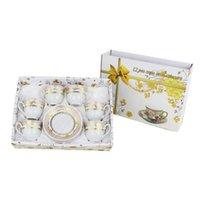 Hueso europeo clásico China Tazas de café y platillos Conjuntos Placas de vajilla Platos Conjunto de té de la tarde Cocina de casa con caja de regalo