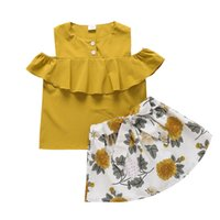 Kids Clothing Sets Girls Outfits Baby Clothes Suit Children Wear Summer Chiffon Short Sleeve Flower Skirts 2Pcs Princess 2-6Y B5390