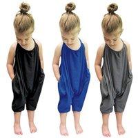Baby Girls Strap Romper SR Couleur Solide Couleur Sling Sautes Jumpsuits Summer Boutique Enfants Vêtements d'escalade 3 couleurs
