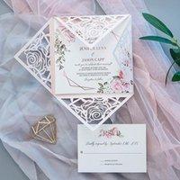 Tarjetas de felicitación 1 unids Diseño de Rose Diseño Square Blush Light Ramático Romatic European Invitación de la boda Impresión personalizada con el sobre de la tarjeta RSVP