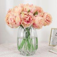 Demet 5 adet Yapay Bez Şakayık Çiçekler Ev Dekorasyon Için Düğün Buket Gelin Oturma Odası Anneler Günü Hediyeler Dekoratif Çelenkler