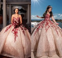Pretty Rose Gold and Red Lace Quince Dresses 2021 Sweetheart Lace-up Corset Top Sparkly Sequins Applique Quinceanera Gowns