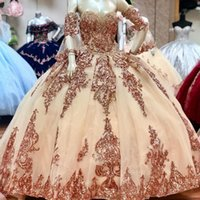 Sparkly Rose Gold Quinceanera Abiti Abiti rimovibili Manicotti Sweetheart Sequines Applique Sweet 16 Dress Party Gonne