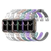 Glitter Bling Transparent Case And Strap For Apple Watch Series 7 6 5 4 3 Se Women Bracelet Sport Wristbands IWatch 45mm 44mm 42mm 40mm 38mm Watchbands