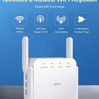 1200 Мбит / с 2.4G / 5G Wi-Fi Repearer сигнал усилитель Усилитель контроллера Усилитель маршрутизатора с 4 внешними антеннами EU / US Plug для домашнего офиса 210607