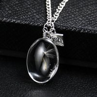 Pissenlit naturel ovale rond cristal verre pendentif de fleurs séchées à la main collier de préservation permanente chaînes bijoux femmes colliers