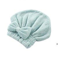 Chapeaux de cheveux secs rapides Chapeaux de serviette enveloppée Salle de bain Casquettes Microfibre Bow Femmes Femmes Girls Cap Hwe10230