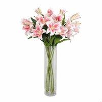 3 인공 가짜 꽃 릴리 시뮬레이션 플라스틱 식물 웨딩 홈 장식 장식 꽃 화환