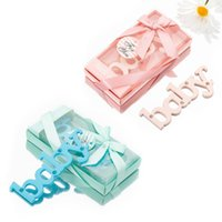 Pink Blue Color Opener Baby Letter Rhinestone Alloy For Shower Baptism Birthday Party Guests Favor Gifts Souvenir