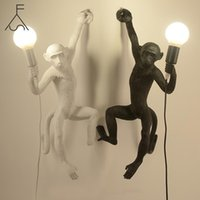 Duvar Lambası Reçine Siyah Beyaz Altın Maymun Kolye Işık Oturma Odası Lambaları Için Sanat Salonu Çalışma LED Işıklar Luster E27 Ampul ile