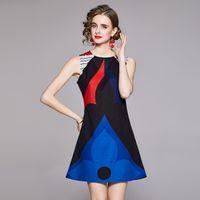 2021 Seksi Ince Pist Baskılı Yelek Elbise Lüks Moda Kolsuz A-Line Balo Bayanlar Tasarımcı Yaz Mini Elbiseler Ofis Parti Tatil Zarif Sonbahar Kadın Giysileri
