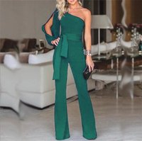 Women Fashion Clubwear One Shoulder High Waist Lace Up Bodycon Party Ladies Jumpsuits Rompers Women's &
