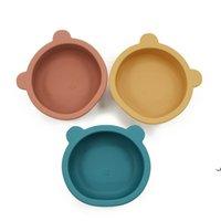 Силиконовые чаши Детские кормления столовые посуды медведь форма тарелка с не скользной присоски младенческий детский чаша кормления блюда AHA4990