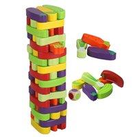 Hölzernes Gleichgewicht Farbiges Stapel-Spiel für Kinder Trümpfe Tower-Blöcke für Kinder Bausteine Pädagogisches Spielzeug X0503