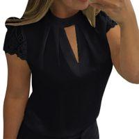 Женщины Блузки Рубашки Женщины Сексуальная Летняя Повседневная Полая Шифон Короткие Рукава Сращивание Кружева Топы Блуза Blusas Mujer Plus Размер 5XL