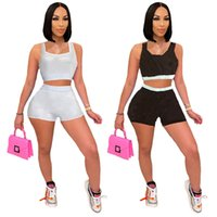 Plus Größe Frauen Sexy Trainingsanzüge Brief Zwei Stück Sets Sommer Kleidung Lässige Outfits Sleeveless Crop top + Mini Shorts Sport Laufanzug 4795