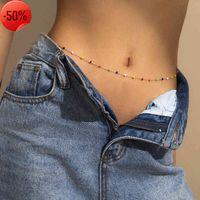 Kreative bunte Reis-Perlen-Tassel-Single-Layer-Taille-Ketten-Trend-geometrische Sternkörper
