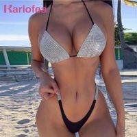 Karlofea Luxus Bling Strass Bikini Kristall Diamant Sexy Frauen Badeanzug Halfter Push Up Triangle Bademode Strand Tanga Shorts