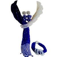 Pendientes Collar Calidad Azul Royal Azul Transparente Engendro Joyería de Cristal Conjuntos 10C-WJ-15