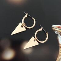Sensível ouro ou prata cor chapeamento geo triângulo charme aro brincos para mulheres menina casual bohemia diário moda acessório huggie