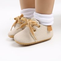 First Walkers Born Boys Girls Solid Color Casual Soft-sole Non-slip Flat PU Leather Shoes Lace Up Moccassins Baby Prewalkers Crib Sneakers