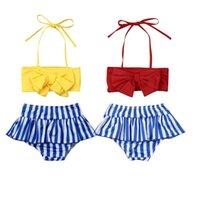One-Pieces 0-4Y Baby Girls Swimwear 2021 Summer Ruffle Stripe Kids Swimsuits Bathing Suits Two Piece Bikini Set Children Beachwear