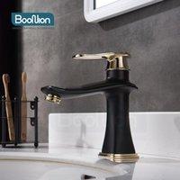 Boonion Messing Basin Mixer Black-Gold Bad Tap Single Griff Kaltloch Einfache Stil Waschbecken Armaturen
