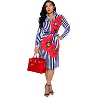 Casual Dresses Full Sleeve Blouse Dress Women Turn Down Collar With Sashes Robe Fashion Floral Print Striped Office Lady Shirt