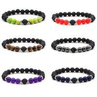 8mm Natural Lava Stone Strands Beaded Charm Bracelets Handmade Elastic Bangle Jewelry For Women Men