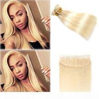 Passion Virgin Hair Blonde Color Capelli WeFts 3 Bundle con 13x4 orecchio al pizzo auricolare Chiusura frontale Brasiliano 613 Bionda Bionda capelli umani Tessuti