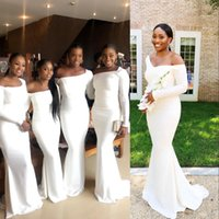 2021 Elegant Black Girls Sexy White Mermaid Bridesmaid Dresses Long Sleeves Party Wedding Guest Gowns Maid Of Honor Dress Sweep Train