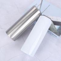 Sublimação Straight Tumble 20oz Aço Inoxidável Vácuo Isolado Caneca De Café Sublimação Blanks Garrafa 878 Z2