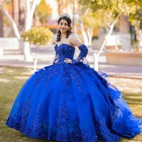 2021 Sexy Red Royal Blue Sequined Lace Quinceanera Dresses Ball Gown Crystal Beads Rose Gold Sequins Sweetheart With Sleeves Ruff