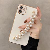 Perlenarmband Kette Handy Hüllen Galvanisierung Rahmenabdeckungen Luxus Flash Diamond Case für iPhone 7 8plus x 11 12 Pro max