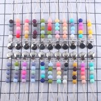 Baby Pacifier Holder Silicon Bead Chain with Metal Clips Candy Color Eco-Friendly Material Design Infant Feeding Accessories Toddlers Gift