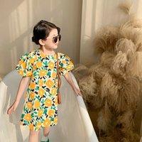 SK라는 여름 작은 소녀 드레스 사랑스러운 해바라기 퍼프 소매 유장 옷